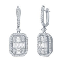 4 Carat Drop Emerald Cut Earrings