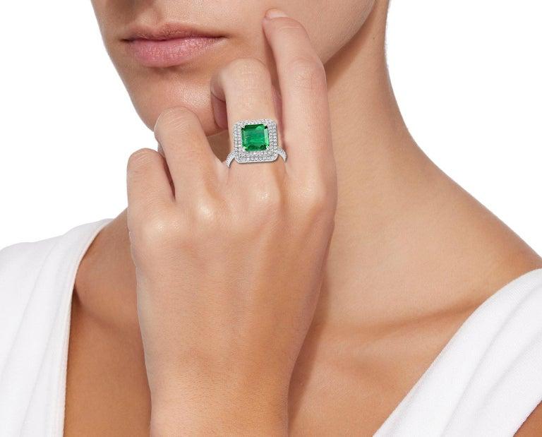 4 Carat Emerald Cut Colombian Emerald and Diamond Platinum Ring Estate For Sale 1