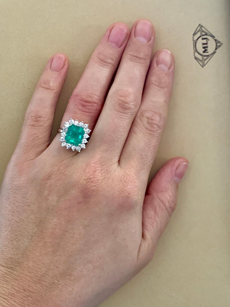 4 Carat Emerald Cut Colombian Emerald and Diamond Ring 14 Karat White Gold For Sale 6