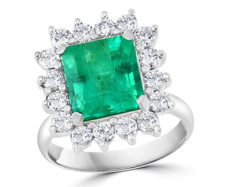 4 Carat Emerald Cut Colombian Emerald and Diamond Ring 14 Karat White Gold For Sale 9