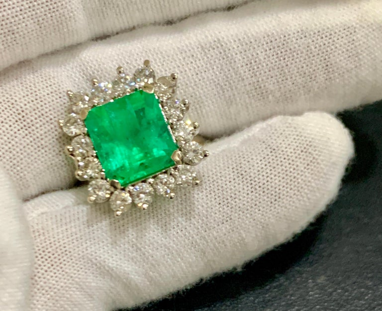 Women's 4 Carat Emerald Cut Colombian Emerald and Diamond Ring 14 Karat White Gold For Sale