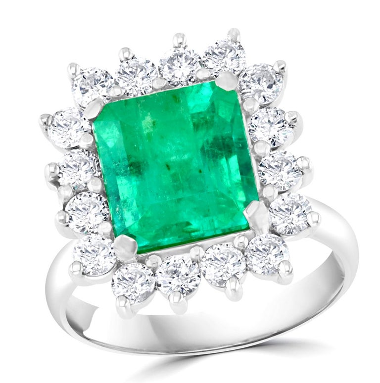 4 Carat Emerald Cut Colombian Emerald and Diamond Ring 14 Karat White Gold For Sale 2
