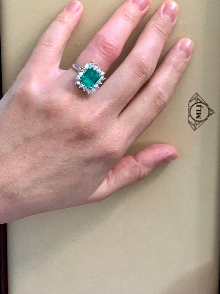 4 Carat Emerald Cut Colombian Emerald and Diamond Ring 14 Karat White Gold For Sale 3