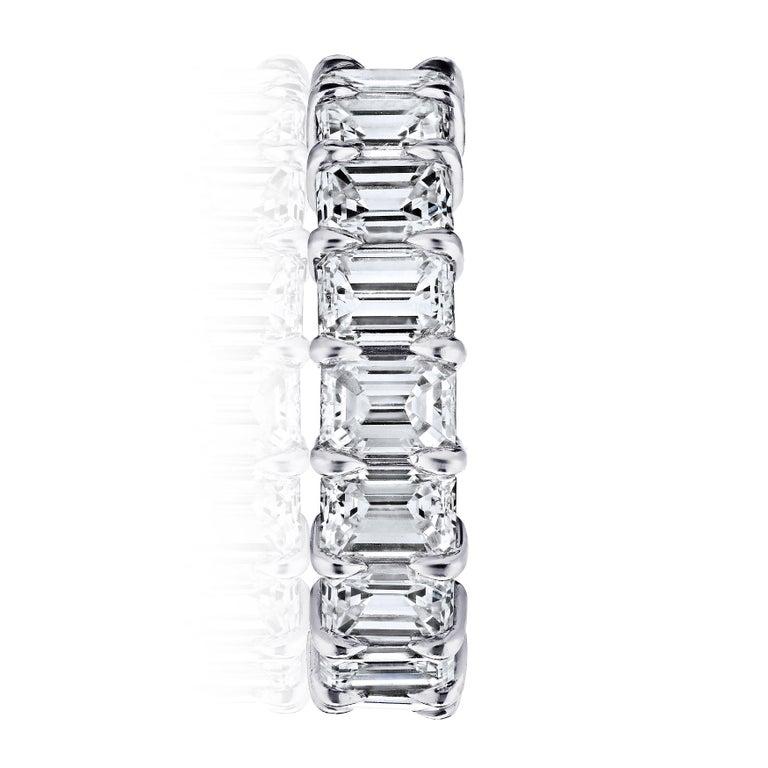 Women's or Men's 4 Carat Emerald Cut Diamond Ring Platinum Eternity Band For Sale