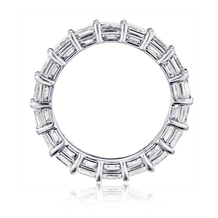 4 Carat Emerald Cut Diamond Ring Platinum Eternity Band For Sale 1