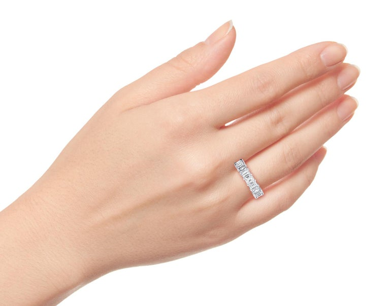 4 Carat Emerald Cut Diamond Ring Platinum Eternity Band For Sale 2