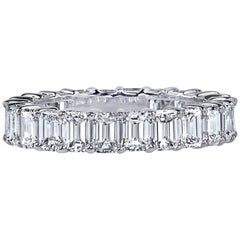 4 Carat Emerald Cut Diamond Ring Platinum Eternity Band