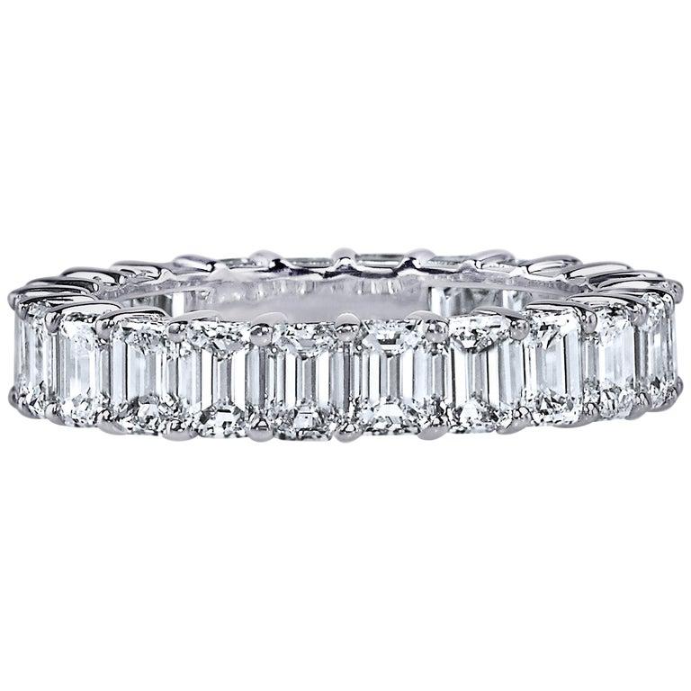 4 Carat Emerald Cut Diamond Ring Platinum Eternity Band For Sale