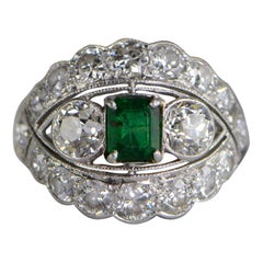 4 Carat Emerald Diamond Art Deco Platinum Engagement Ring