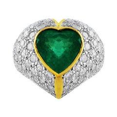 4 Carat Emerald Diamond Heart Ring
