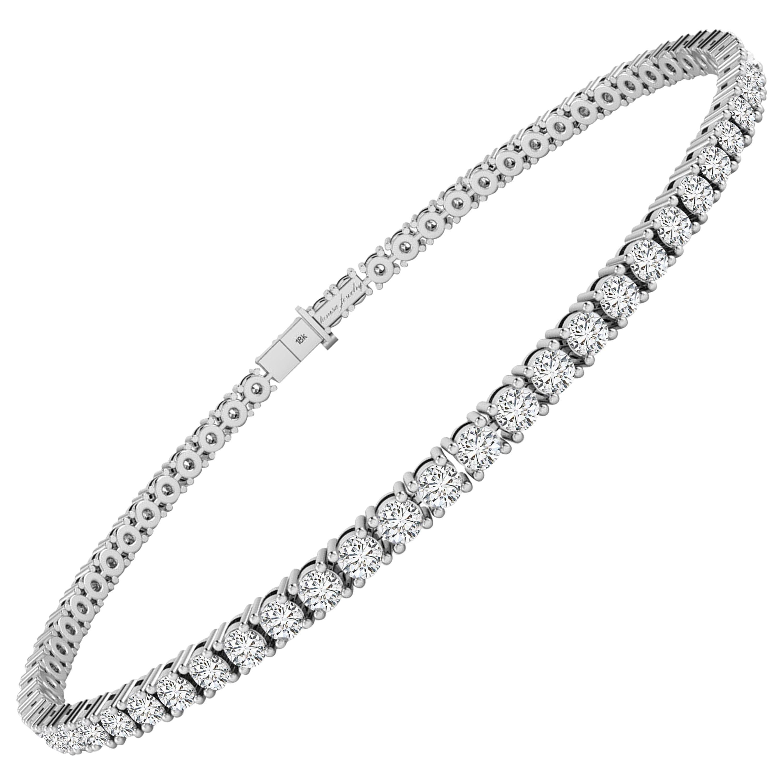 4 Carat F/VS White Diamond Tennis Bracelet in 18 Karat White Gold