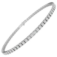 4 Carat F/VS White Diamond Tennis Bracelet in 18 Karat White Gold
