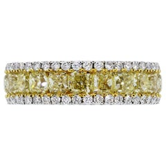 4 Carat Fancy Yellow Cushion and Round White Diamond Eternity Band Ring