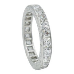 4 Carat French Cut Diamond Platinum Eternity Band