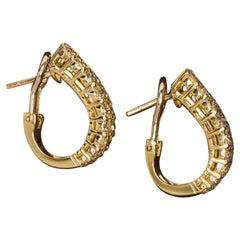 4 Carat G VS Excellent Cut Diamond Huggie Earrings 18 Karat Yellow Gold