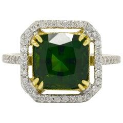 4 Carat Green Tourmaline Diamond Ring Cocktail 2-Tone 18 Karat Gemstone