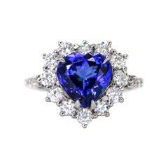 4 Carat Heart Shaped Tanzanite Ring