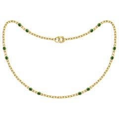 4 Carat Intense Green Tsavorite 18 Karat Matte Yellow Gold Necklace Chain
