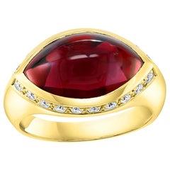 4 Carat Marquise Shape Rhodolite Garnet and Diamond Ring 18 Karat Yellow Gold