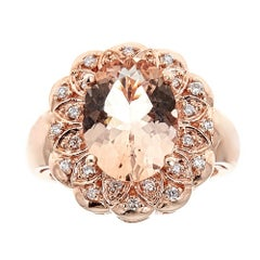 Oval Shaped Pink Morganite Diamond Accent Engagement Ring in 14k Rose Gold