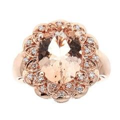 4 Carat Morganite and White Diamond Statement Ring in 14 Karat Gold
