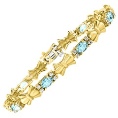 4 Carat Natural Aquamarine and Diamond Tennis Bracelet 10 Karat Yellow Gold