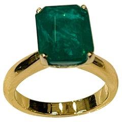 4 Carat Natural Emerald Cut Emerald Ring 14 Karat Yellow Gold