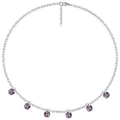 4 Carat Natural Lilac Spinel Pendants 14 Karat White Gold Necklace
