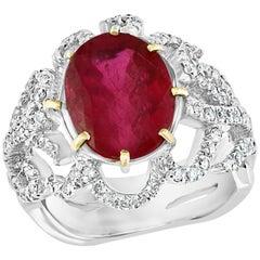 4 Carat Natural Ruby and Diamond 18 Karat White Gold Cocktail Ring