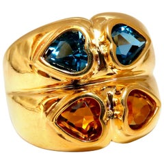 4 Carat Natural Topaz and Citrine Heart Cut Wide Twin Band 18 Karat