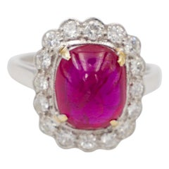 4 Carat No Heat Burmese Ruby Cabochon and Diamond Ring