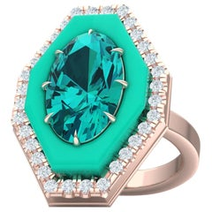 4 Carat of Apatite Turquoise and Diamond Rose Gold Ring