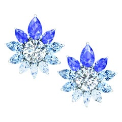4 Carat of Sapphire Aquamarine and Diamond Hombre Earrings Set in White Gold