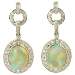 4 Carat Opal and Diamonds 18 Karat White Gold Dangle Earrings