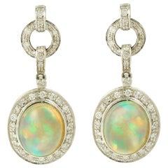 4 Carat Opal Diamonds 18 Karat White Gold Dangle Earrings