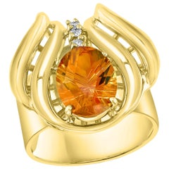 4 Carat Oval Citrine and Diamond Ring in 14 Karat Yellow Gold, Estate