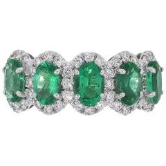 4 Carat Oval Emerald Cut Diamond Halo Eternity Band Ring