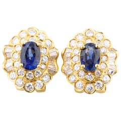 4 Carat Oval Natural Sapphire Huggie Earrings with Diamonds in Yellow Gold