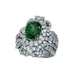 4 Carat Oval Tsavorite & 2.9 Carat Diamond in 18 Karat White Gold Ring Estate