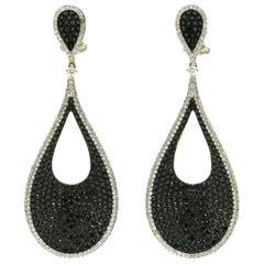 4 Carat Pave' Diamond Dangle Earrings Black Diamond Drops Teardrop Lever