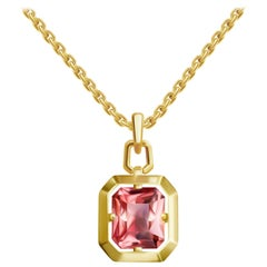 4 Carat Peach Tourmaline 14 Karat Yellow Gold Pendant