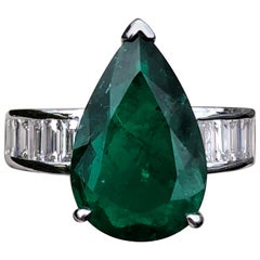 4 Carat Pear Cut, Colombian Emerald Engagement Ring in White Gold