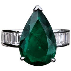4 Carat Pear Cut Colombian Emerald Engagement Ring in White Gold