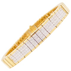 4 Carat Princess Cut Diamond Paved Gold Bracelet, 4.00 Carat Total Weight Dia