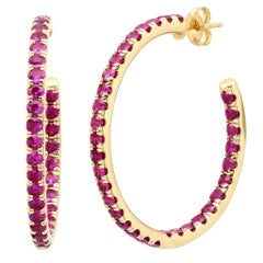 4 Carat Red Ruby Gemstone Hoop Ear Rings, Ben Dannie