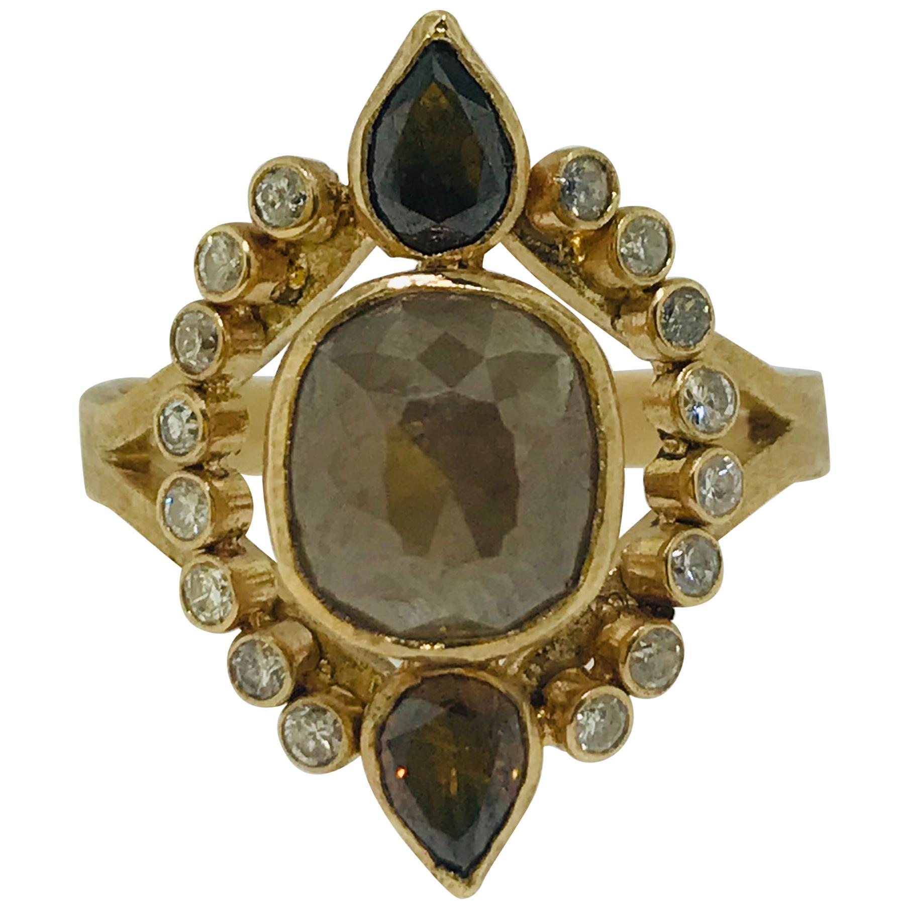 Rough Diamond Ring, 4 Carat Champagne Diamond Engagement Ring, Original Design