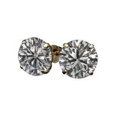 4 Carat Round Brilliant Cut Diamond 18 Carats Yellow Gold Studs