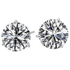 4 Carat Round Cut Diamond Stud Earrings