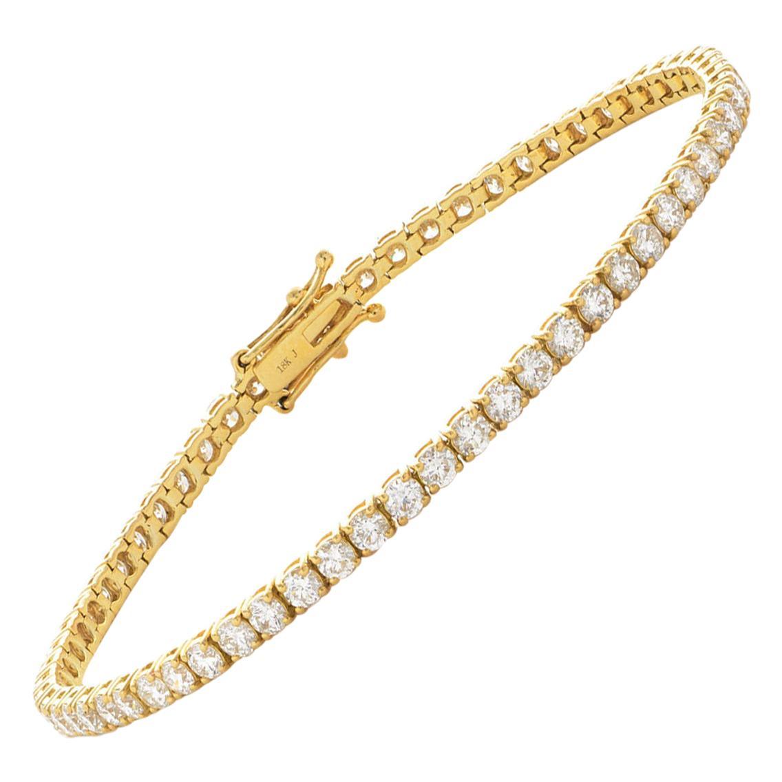 4 Carat Round Diamond 18 Karat Gold Four Claw Set Tennis Riviera Line Bracelet