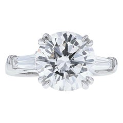 4 Carat Round Diamond 'E, VS1, GIA' Ring with Diamond Baguettes Set in Platinum
